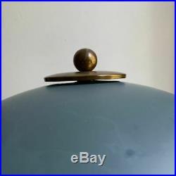 Vintage Art Deco Moderne Mid-Century brass & blue metal table lamp 1940s