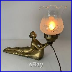 Vintage Art Deco Nouveau Chandler Laying Lady Lamp Figural Light Gold Bronzed