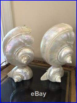 Vintage Art Deco Nouveau Nautilus Seashell Sea Shell Figural Lamp Pair