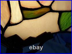 Vintage Art Deco Nude Lady Woman Metal Table Lamp Light Stained Glass Shade