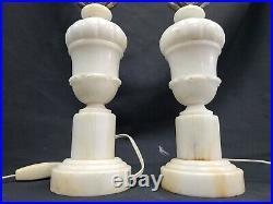 Vintage Art Deco Pair Alabaster Urn Boudoir Table Lamp MCM Mid Century Superb