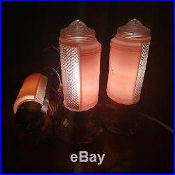 Vintage Art Deco Pink Bedroom Headboard End Table lamp set glass frosted 1950's