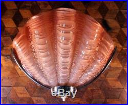 Vintage Art Deco Pink Glass Clam Shell 1930s Chrome Odeon Wall Light Lamp Shade
