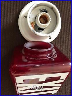 Vintage Art Deco Ruby Red Glass Exit Sign Sconce Lamp Triangular Light 5.5x7