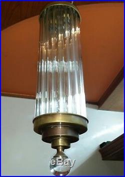 Vintage Art Deco Skyscraper Brass & Glass Ceiling Fixture Chandelier Light Lamp