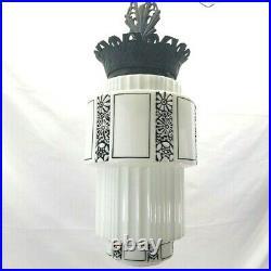 Vintage Art Deco Skyscraper Lamp Black White Original Ceiling Light Fixture