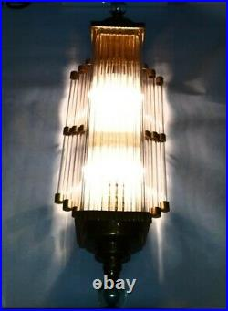Vintage Art Deco Skyscraper Nickel Brass Glass Rod Ship Light Wall Sconces Lamp