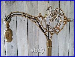 Vintage Art Deco Sterling Lamp Co. Griffin Bridge Arm Floor Lamp, Marble Base