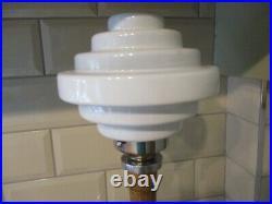 Vintage Art Deco Style White Glass Disc Lamp