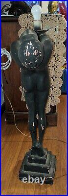 Vintage Art Deco Style Woman Lamp Black with Globe Read Description