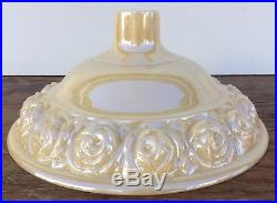 Vintage Art Deco Torchiere Floor Lamp Glass Shade Luster Gold Raised Flowers