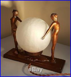 Vintage Art Deco Twin Nudes Globe Lamp