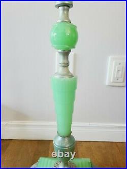 Vintage Art Deco Vaseline Uranium Jadeite Glass Bridge Floor Lamp 1930