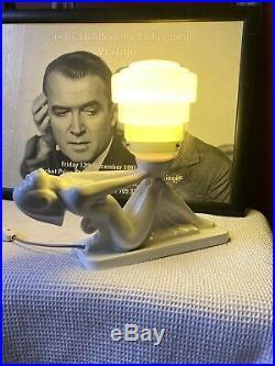 Vintage Art Deco White Lady Lamp