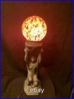 Vintage Art Deco Women Holding Czech Globe Lamp