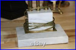 Vintage Bankers Desk Lamp Green Glass Shade Marble Base Brass Art Deco 17 x 10.5