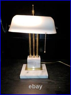 Vintage Bankers Desk Lamp White Glass Shade Marble Base Brass Art Deco