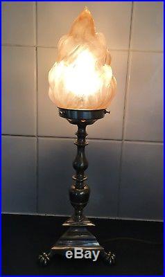 Vintage Brass Lamp & Art Deco Pink Flame Depression Glass Light Shade Antique