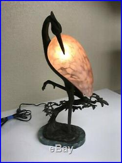 Vintage Brass Table Art Deco Flamingo Lamp- RARE- Never seen Any Like This