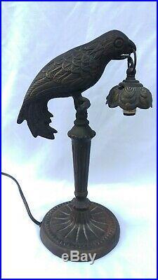 Vintage Cast Iron Parrot Bird Table Lamp Art Nouveau Deco Victorian