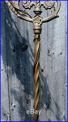 Vintage Cast Wrought Iron Gold Art Deco Bridge Arm Floor Lamp