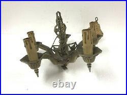 Vintage Ceiling Light Fixture hanging lamp art deco nouveau cast iron gold LAPCO