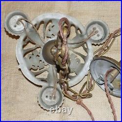 Vintage Ceiling Light Lamp Fixture Art Nouveau Chandelier Deco 3 Bulb Gold