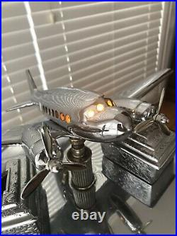Vintage Chrome Art Deco Dc-3 Airliner Lamp Ashtray Smoking Card Table Airplane