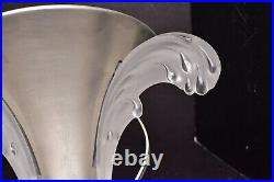 Vintage EZAN FRENCH ART DECO Frosted glass WALL SCONCE modernist light fixture