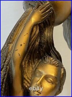 Vintage Female Bronze Nude 2 Ladies Lamp Art Deco Works Great Rare