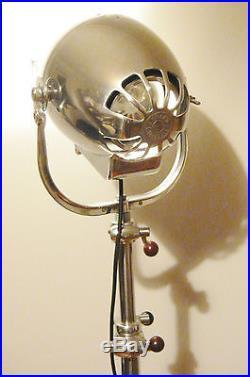 Vintage Film Movie Light Antique Art Deco Silver Alessi Floor Lamp Eames Theatre