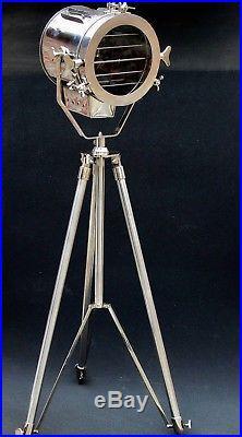 Vintage Film Movie Light Antique Art Deco Silver Nautical Floor Lamp Mid Century