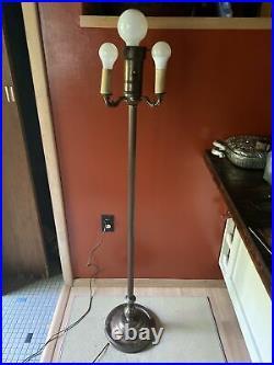 Vintage Floor Lamp Ornate Candle Brass Torchiere Cast Art Deco 4 Light 6 Ways