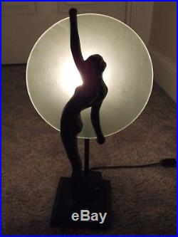 Vintage Frankart Art Deco Female Nude Figural Table Lamp with Glass Disk Shade