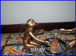 Vintage Frankart Art Deco Table Lamp 2 Nudes Chippy Original Paint