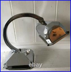 Vintage French Art Deco Chrome Adjustable Bankers Desk Lamp (Needs Wiring)