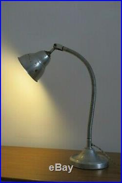 Vintage French Art Deco Industrial Gooseneck Table Lamp