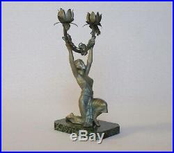 Vintage French Art Deco Spelter Statuette / Candle Holder / Lamp