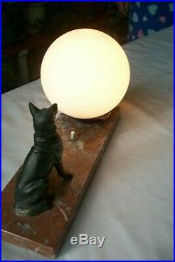 Vintage French Marble art deco table mood lamp alsatian dog german shepherd #1