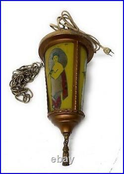 Vintage Glass-Brass Retro Hanging Lamp Art Deco Oriental