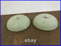 Vintage Glass Lamp Shades Pair ART DECO frosted jadite green ceiling light round