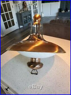Vintage Hanging Light Lamp UFO Saucer Kitchen Atomic Brass Mid Century Art Deco
