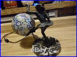 Vintage Harlequin Art Deco Gerdago Harlequin Pixie Lamp with Millefiore Shade