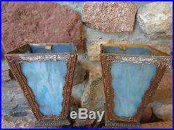 Vintage Heavy Cast Art Deco Reverse Painted Electric Table Lamps for Restoration