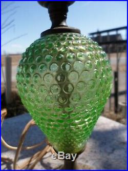Vintage Hobnail Green Uranium Depression Glass Table Vaseline Lamp Art Deco
