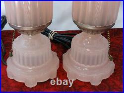 Vintage Houze Art DECO Opaque PINK Glass Electric Boudoir Dresser Bullet Lamps