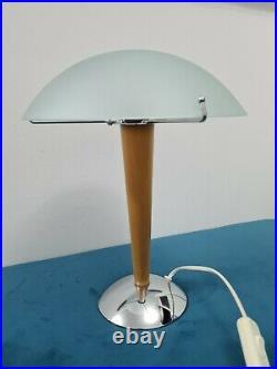 Vintage Ikea Kvintol Art Deco Style Frosted Glass Wood Chrome Table Lamp