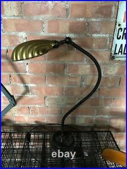 Vintage Industrial Desk Lamp Light Art Deco Brass Shell Shade