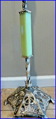 Vintage Jadite Cast Iron Art Deco Floor Lamp