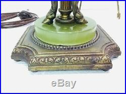 Vintage Lamp Base Neoclassical Art Deco Rams Heads Green Onyx Colonial Premiere